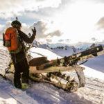 Snowmoblie Skier Stoked