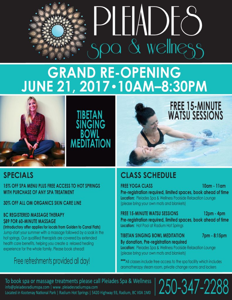pleiades spa amp wellness grand re opening   radium hot springs
