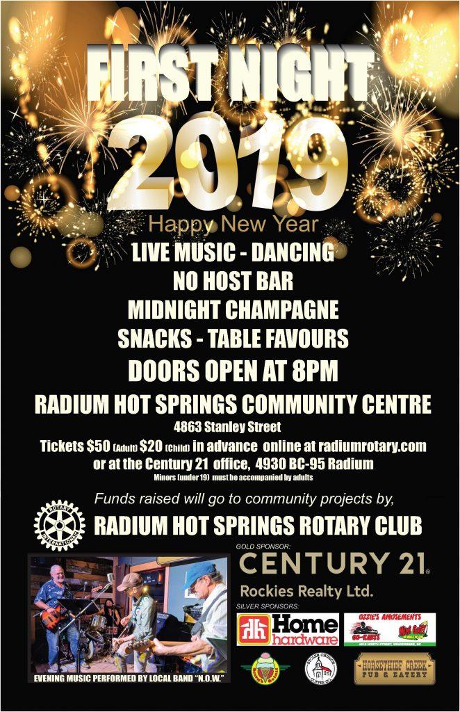 Radium Hot Springs Rotary Club NYE Celebration @ Radium Hot Springs Rotary Club